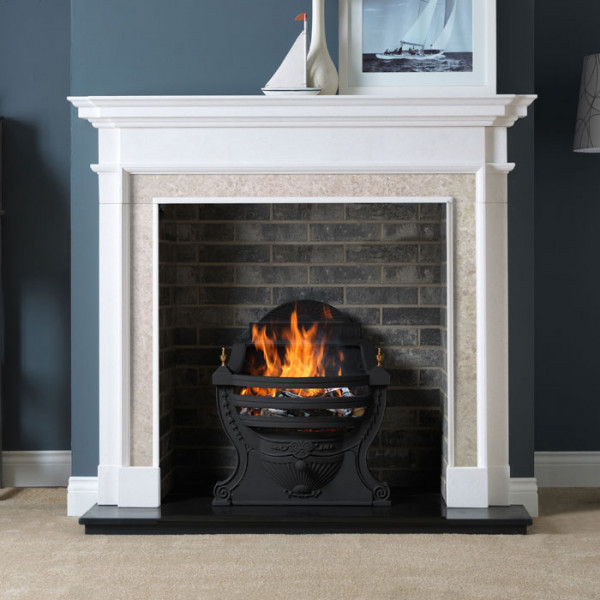"58"" Penman Aversa Limestone Fireplace with Optional Large Victorian Fire Basket"