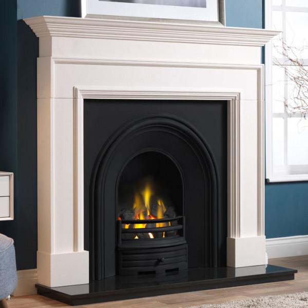 "58"" Penman Cortese Limestone Fireplace with Falkirk Cast Iron Arch"