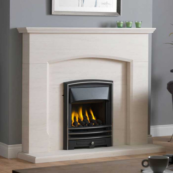 Dacre Limestone Fireplace with Lunar Gas Fire