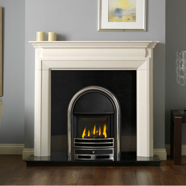 """54"""" Penman Luca Limestone Fireplace with Optional Apollo Glass Fronted Gas Fire"""