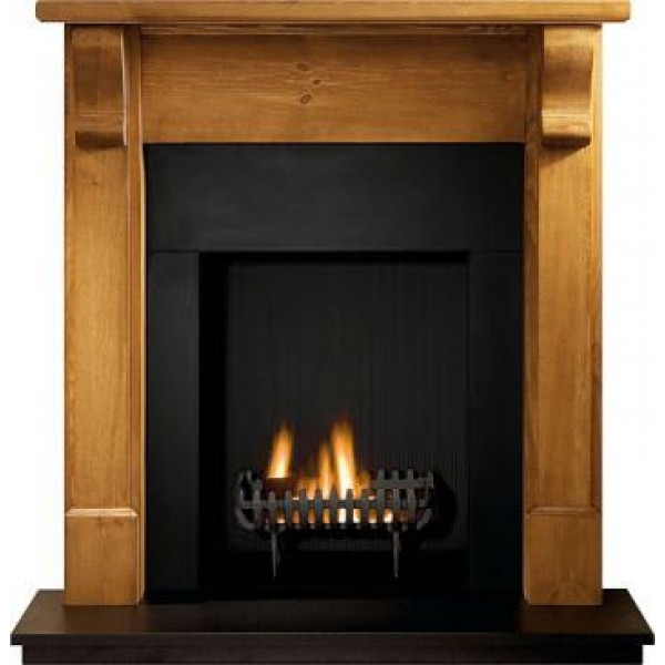 Gallery Bedford Pine Fireplace with optional Cromwell Fire Basket