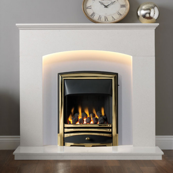 "Gallery Cartmel 48"" Arctic White Marble Fireplace Suite"