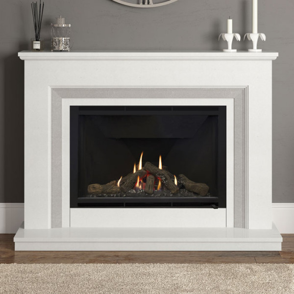 "Elgin & Hall Cassius 52"" Marble Gas Fireplace Suite"