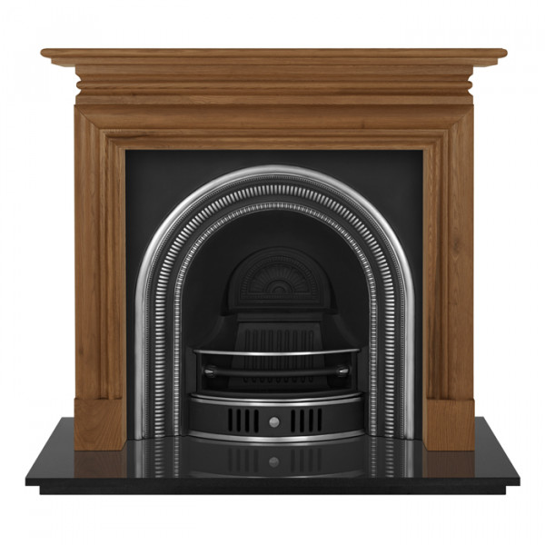 Carron Wessex Wooden Fireplace with Collingham Cast Iron Arch Highlighted