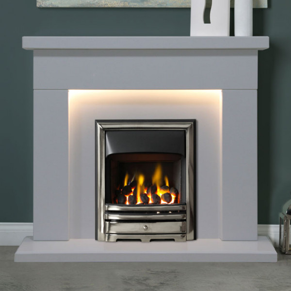 "Gallery Durrington 48"" Arctic White Fireplace Suite"