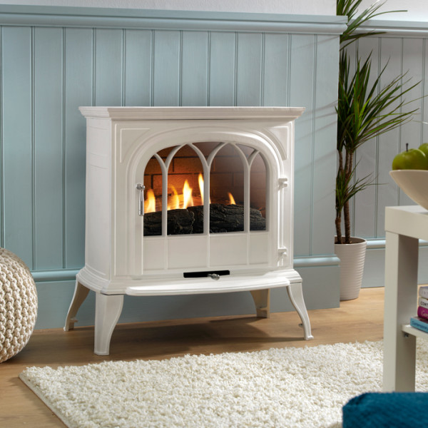 Ekofires 6010 Flueless Gas Stove In White With Arched Door