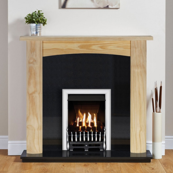 "Ekofires 7010 Unfinished Pine 48"" Fireplace Suite"