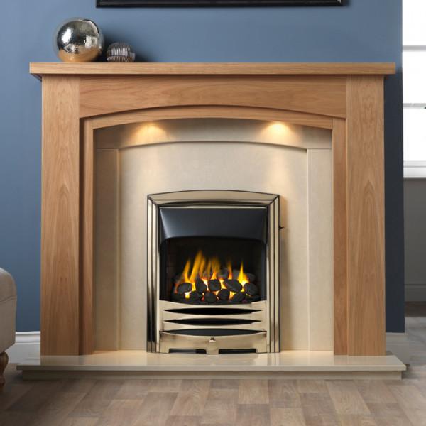 "Gallery Allerton 54"" Light Oak Finish Fireplace Suite"