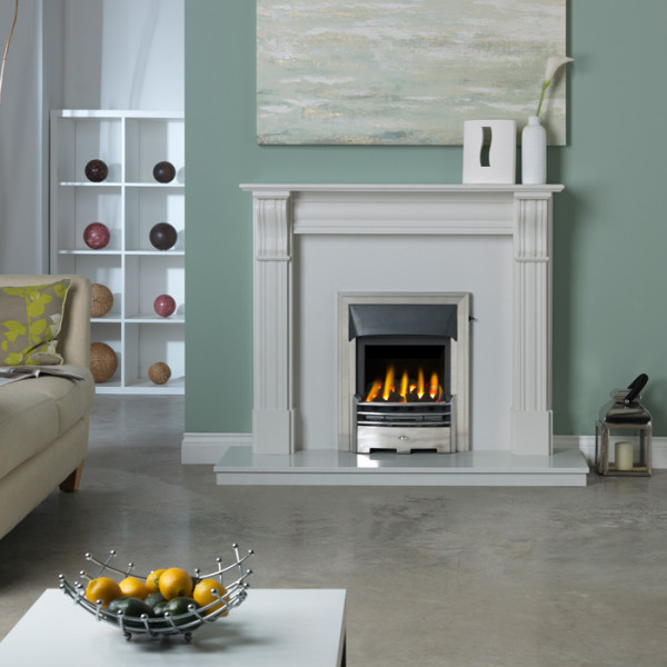 "Gallery Dublin Corbel 48"" Lunar White Marble Fireplace Suite"