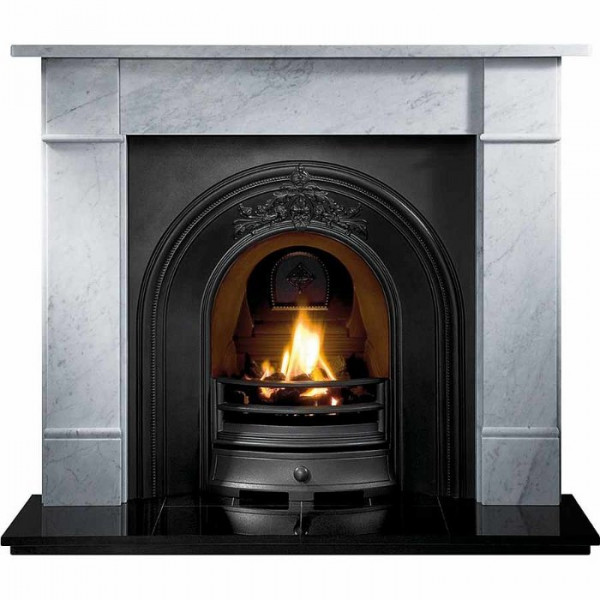 "Gallery Brompton 56"" Stone Fireplace with Landsdowne Cast Iron Arch"