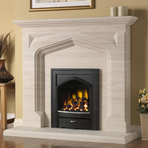"""PureGlow Harvington 54"""" Limestone Fireplace Suite"""