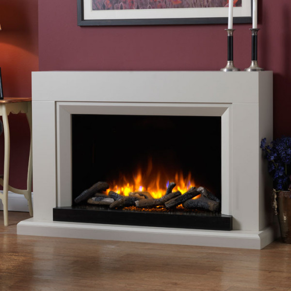 Katell Sorrento electric fireplace with black gloss chamber