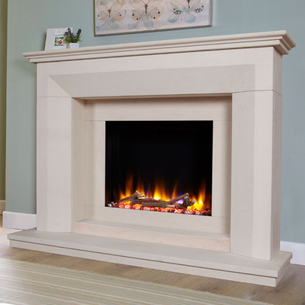 "Celsi Ultiflame VR Angelo 54"" Limestone Electric Fireplace Suite"
