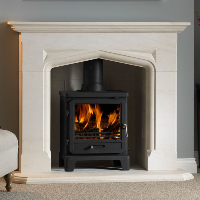 "54"" Penman Delamere Limestone Fireplace with Optional Vega 200SL Stove"