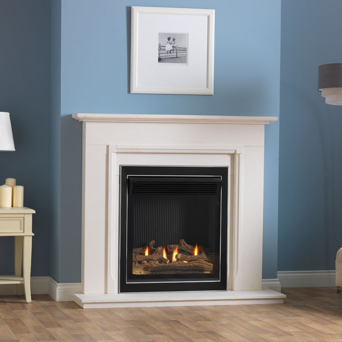 "Burley Lynwood 48"" Limestone Fireplace With Flueless Astute Gas Fire"