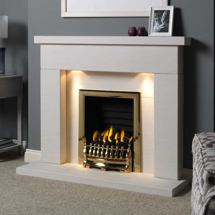 "Gallery Durrington 48"" Limestone Fireplace Suite"