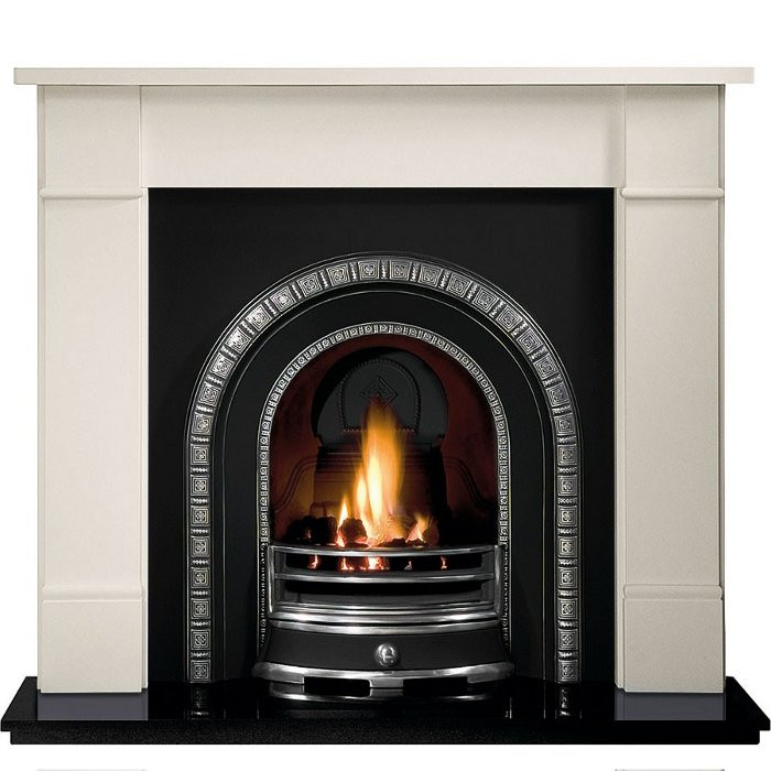 Gallery Brompton Limestone Fireplace with Henley Cast Iron Arch