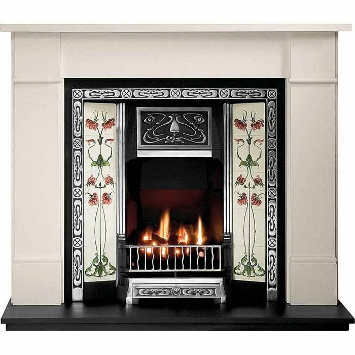 Gallery Brompton Limestone Fireplace with Northmoor Cast Iron Tiled Insert