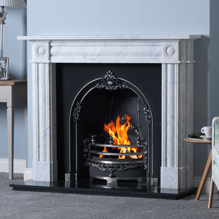 Gallery Chiswick Marble Fireplace with Gloucester Cast Iron Arch in black