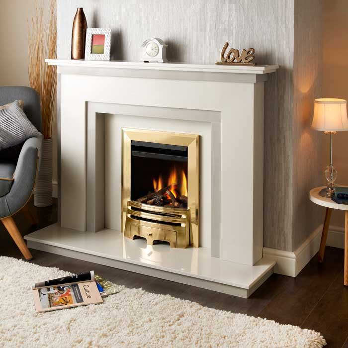 Crystal Montana Grace Fret Gas Fire - Brass