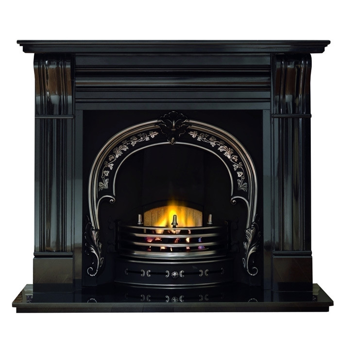 "Gallery Dublin Corbel 60"" Black Granite Fireplace with Fitzwilliam Cast Iron Arch"