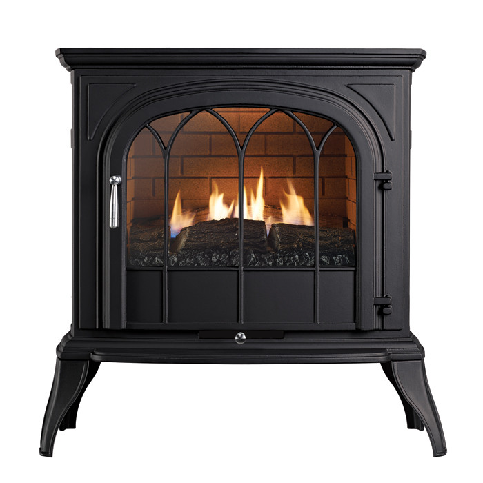 Ekofires 6010 Flueless Gas Stove In Black With Arched Door