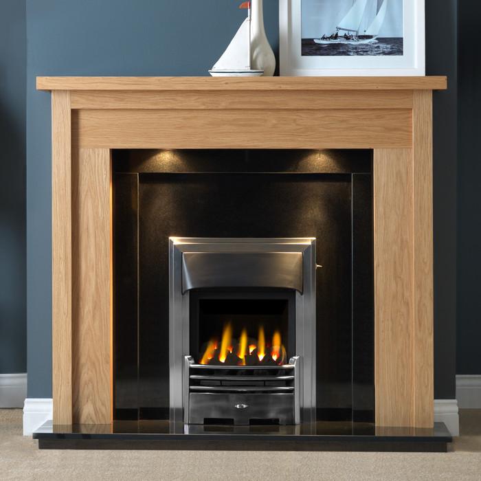 """Gallery Askham 54"""" Light Oak Finish Fireplace Suite"""