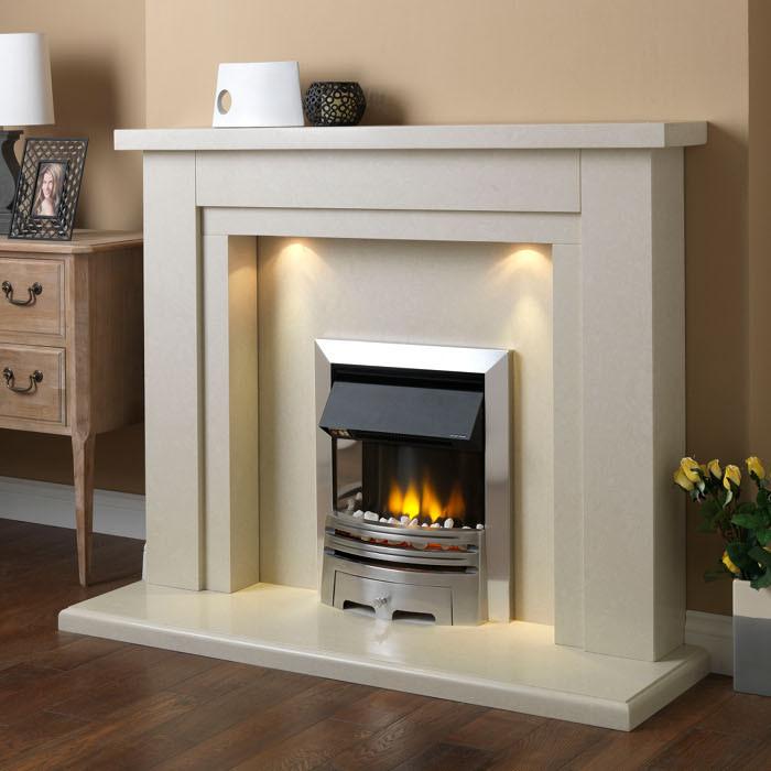 PureGlow Hanley Marble Fireplace Suite