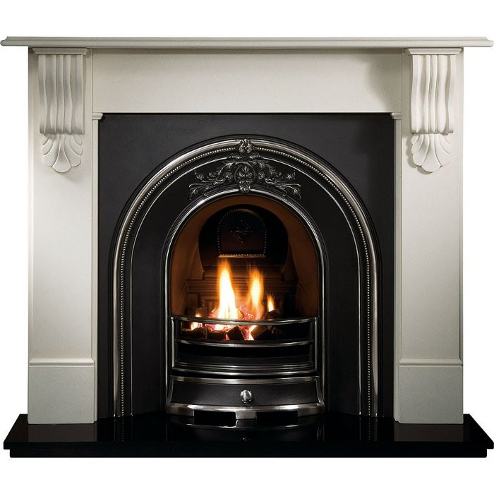 Gallery Kingston Stone Fireplace with Landsdowne Cast Iron Arch