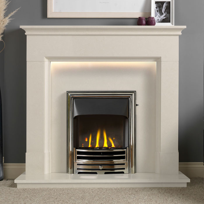 """Gallery Langdon 48"""" Arctic White Fireplace Suite"""
