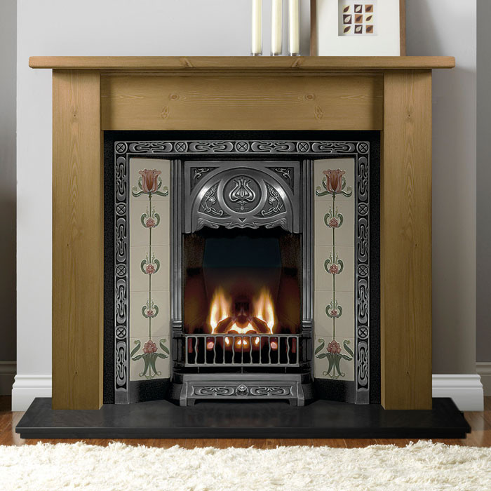 """Gallery Lincoln 54"""" Timber Fireplace with Tulip Tiled Insert"""