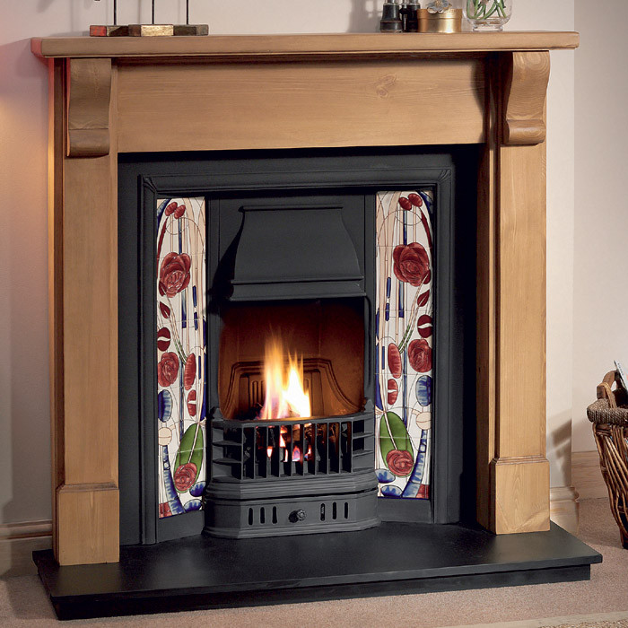 Gallery Bedford Wood Fireplace with Prince Cast Iron Tiled Insert