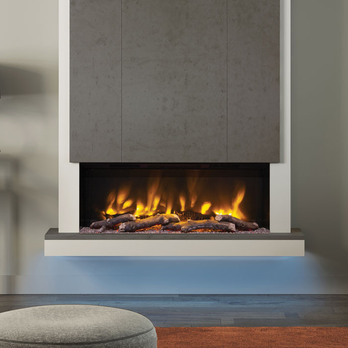 """Elgin & Hall Camino 53"""" Pryzm Chimney Breast Electric Fireplace, Chicago Concrete"""