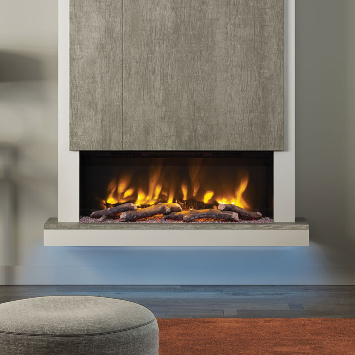 "Elgin & Hall Camino 53"" Pryzm Chimney Breast Electric Fireplace, Vintage Oak Grey"