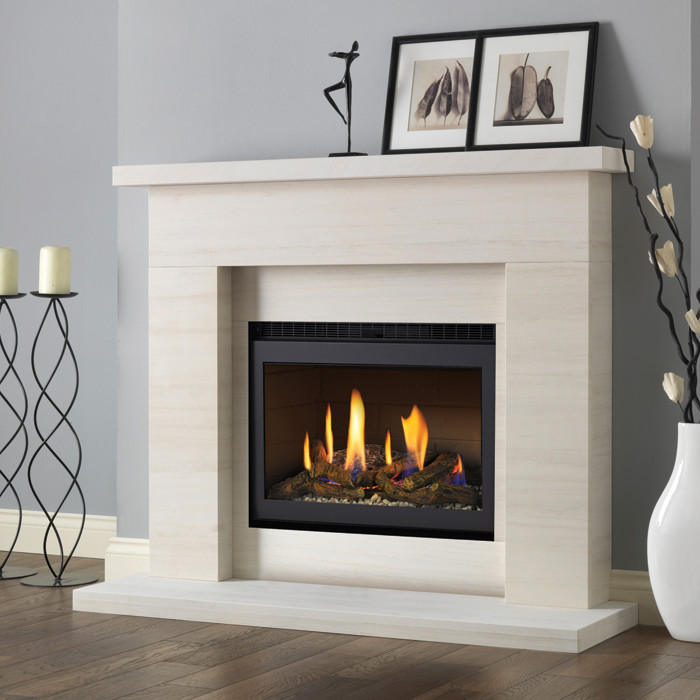 pureglow drayton limestone fireplace suite with chelsea built in gas fire fireplaces are us. Black Bedroom Furniture Sets. Home Design Ideas