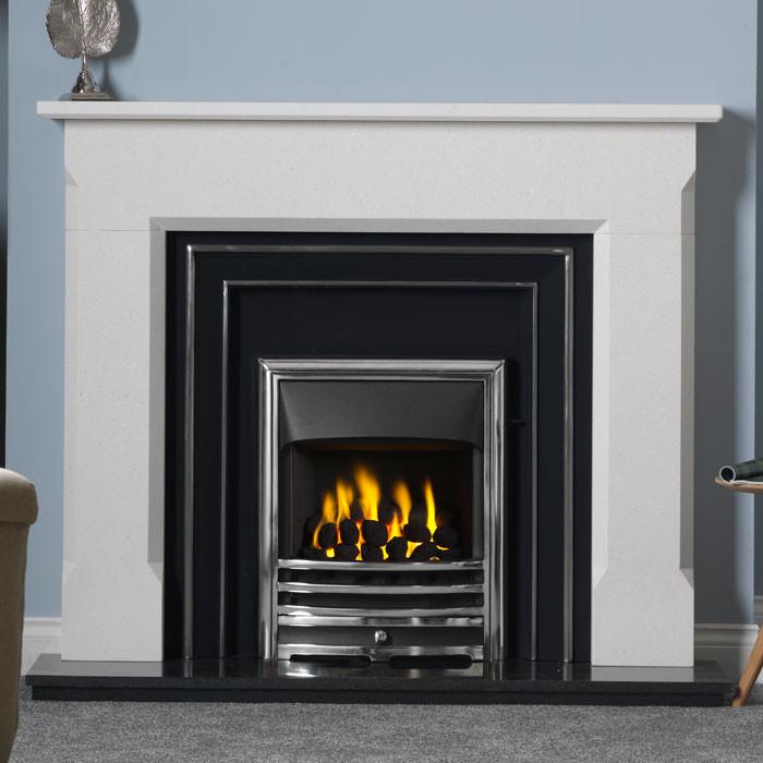 "Gallery Sienna 54"" Stone Fireplace with Hamilton Cast Iron Fascia"