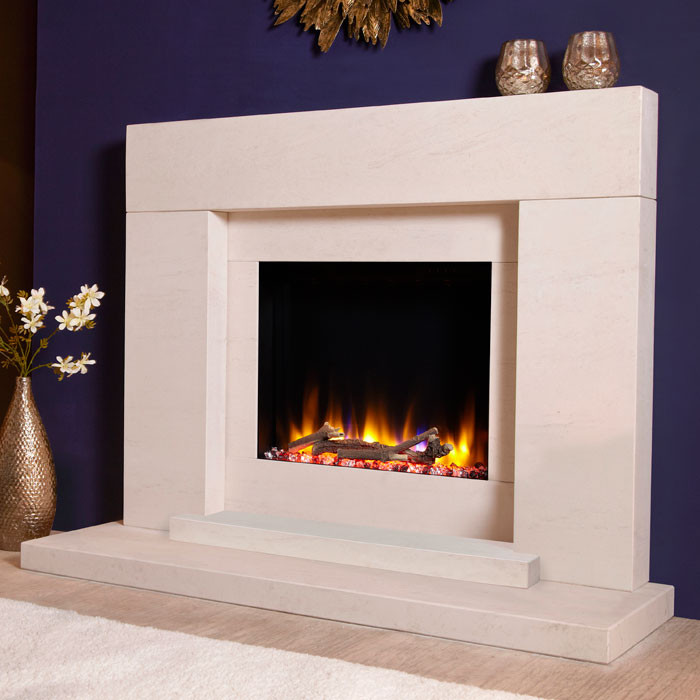 """Celsi Ultiflame VR Pablo 48"""" Limestone Electric Fireplace Suite"""