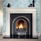 Gallery Bartello Limestone Fireplace with Lytton Cast Iron Arch