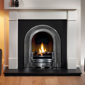 Gallery Brompton Limestone Fireplace with Coronet Cast Iron Arch