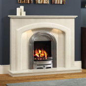 Andorra Marble Fireplace with Abbey Fire