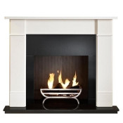 Gallery Brompton Limestone Fireplace Suite with optional Cradle Fire Basket