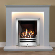 "Gallery Hutton 39"" Arctic White Fireplace Suite"