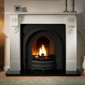 Gallery Kingston Stone Fireplace with Lytton Cast Iron Arch