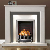 "Gallery Riverslea 48"" Arctic White Marble Fireplace Suite"