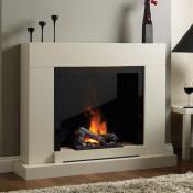 Katell Verona Sandstone witb black gloss back panel & Opti myst fire