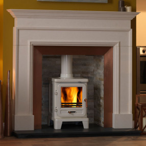 "58"" Penman Cortese Limestone Fireplace with Optional Vega Edge 100 Stove"