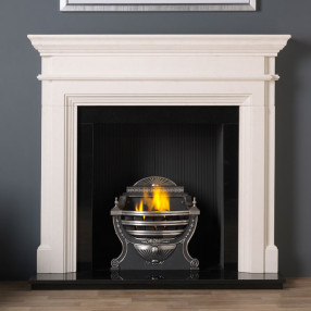 "57"" Penman Teramo Limestone Fireplace with Optional Large Victorian Fire Basket"