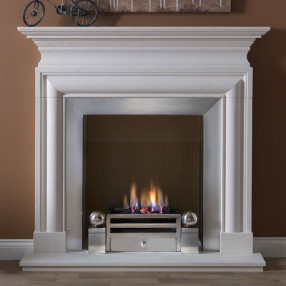 "57"" Penman Avellino Limestone Fireplace with Optional Elan Fire Basket"