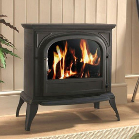 Ekofires 1250 Electric Stove In Black With Plain Door