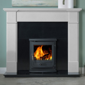 "58"" Penman Velletri Limestone Fireplace with Optional Vega Edge Inset Multifuel Stove"